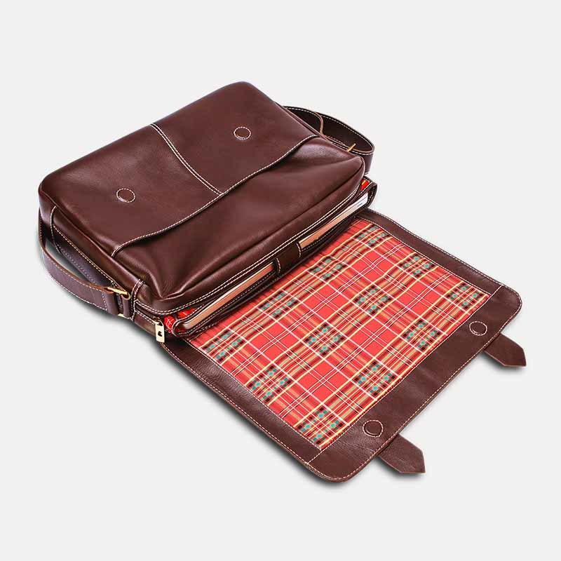 Bolsa masculina de couro para notebook schuster nordweg nw066marrom cafe%cc%81 aberta
