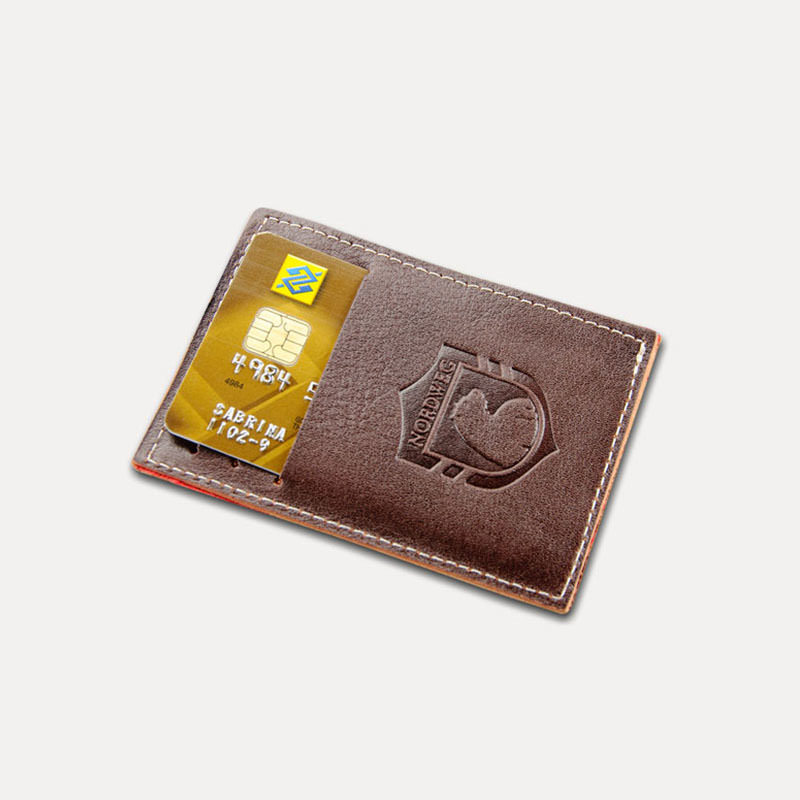 Carteira de couro compacta party wallet nordweg nw009 marrom cafe%cc%81 frente