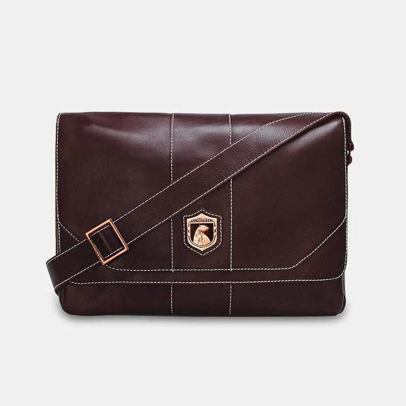 af7000be1 ... Bolsa masculina de couro para notebook nordweg nw068 marrom cafe%cc%81  frente ...