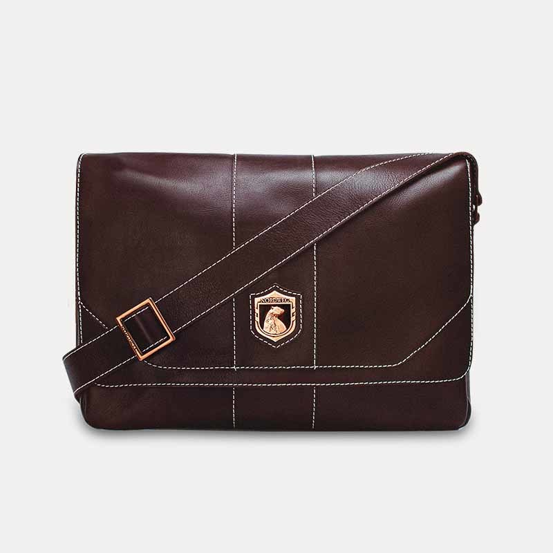 Bolsa masculina de couro para notebook nordweg nw068 marrom cafe%cc%81 frente