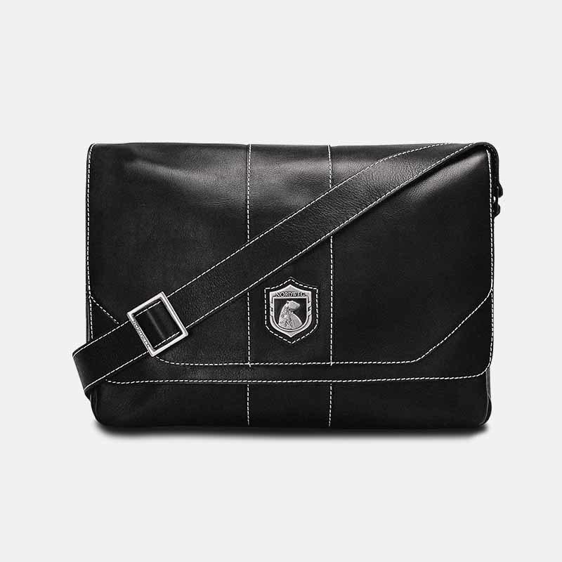 Bolsa masculina de couro para notebook nordweg nw068 preta frente