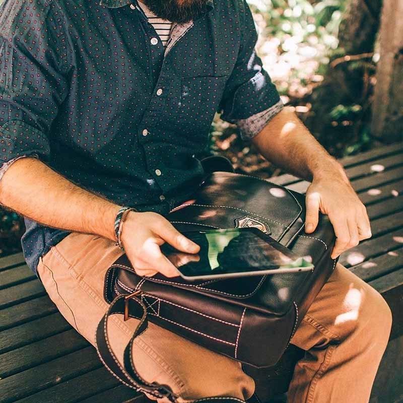Bolsa masculina de couro para notebook nordweg nw068 instagram