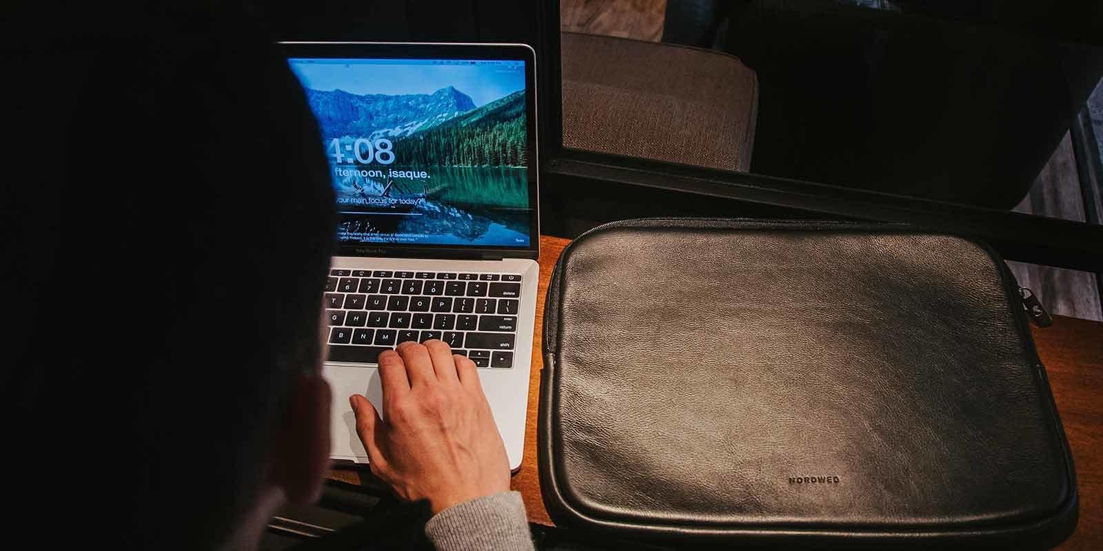 Case de notebook em couro nordweg macbook